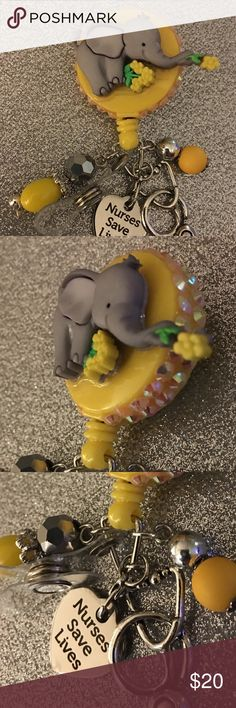The cutest elephant name badge holder $20 Made for s new grad nursing school, if you don't want the medical field charms I have others. Just ask I make them. Girl Gone Badge Jewelry Brooches