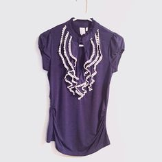 Ruffle Blouse Blue / purple ruffle blouse. Front hook closure. Very feminine and flattering. Sides are ruched a little.   Please ask questions prior to purchase - all sales are final  • Bundle to save • No trades Tops Blouses