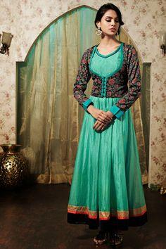 USD 172.85 Green Silk Floral Patch Work Designer Suit   39986