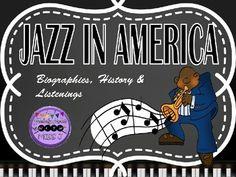 Jazz in America Powerpoint Presentation:Slides about eras and musicians of Jazz Music in historical orderEras: Work Songs and SpiritualsRagtimeBluesNew Orleans/ Dixieland JazzSwingBebopCool JazzRock and RollArtists:-Scott Joplin-Ma Rainey-Bessie Smith-W.C.