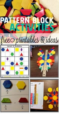 Cool math ideas for kids using pattern blocks - fractions, symmetry, graphing and suduko to help learn math through play. Math Classroom, Kindergarten Math, Teaching Math, Teaching Tools, Classroom Organization, Maths, Classroom Ideas, Math Games, Math Activities