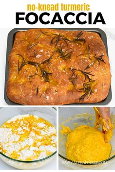 This turmeric rosemary no-knead focaccia bread is super simple, requires no baking skills or special equipment, and yields a flavor-packed bread with a crisp outer shell and super fluffy tender, slightly chewy crumb, and bright yellow (thanks to the turmeric) interior.