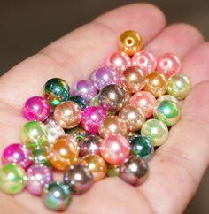 100x mixed glitter pony beads 8mm