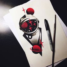 Space astronaut tattoo drawing stars red black planet