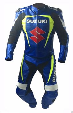 Suzuki Sports Motorcycle Suit Leather Motorbike Racing Cowhide Leather Suit ALL - Outerwear