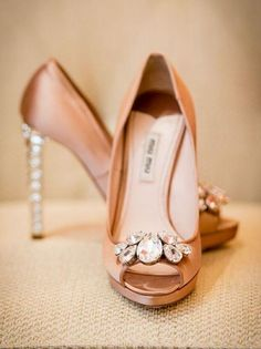 Featured Photo: Brian Dorsey Studios; Elegant gold peep toe wedding shoes with jeweled detail;