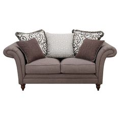 Add a lovely touch to your living room or den with this chic loveseat, showcasing a wood frame and rolled arms.   Product: Loves...