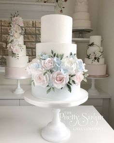 Stay out of the direct sunshine, heat and wedding cakes not a match made in heaven. Keep covered in case of flies. Blush Pink Wedding Cake, Wedding Cake Fresh Flowers, Floral Wedding Cakes, Fall Wedding Cakes, Elegant Wedding Cakes, Floral Cake, Beautiful Wedding Cakes, Wedding Cake Designs, Hydrangea Wedding Cakes