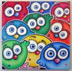 sO mAnY BiRdS - 20x20 original painting on canvas for kids rooms or nursery, bird painting, bird art, owl. $100.00, via Etsy.
