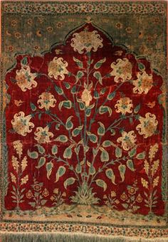 "Aynard carpet, Mughal pashmina, Kashmir, circa 1630-1640. . 4′. 1 "" x 2′. 11 "" (124.5cm x 90cm). Carmen Thyssen-Bornemisza Collection, Madrid."
