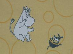 vintage Moomin fabric / scrap light yellow background by tillukka, $9.00