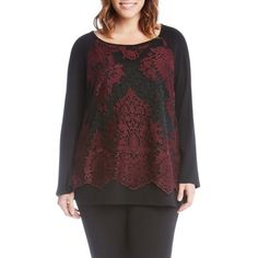 Plus Size Women's Karen Kane Lace Overlay Jersey Top (2.585 CZK) ❤ liked on Polyvore featuring tops, burgundy, plus size, plus size floral tops, karen kane tops, scallop hem top, plus size lace tops and lace top
