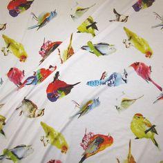 Stoff Vögel - Stoff Meterware Jersey Vogel Vögel Fotodruck weiß - ein Designerstück von werthers-stoffe bei DaWanda