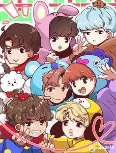 Bts Chibi, Bts Memes, Bts Anime, Les Bts, Bts Backgrounds, Bts Drawings, Bts Fans, Album Bts, Kpop Fanart
