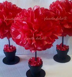 (1) Centro De Mesa Pompon Flor En Papel De Seda *planeta Dulce®* - $ 55,00 en MercadoLibre