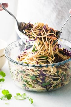 USE GF PASTA.This yummy Spicy Thai Spaghetti Salad is an delicious twist on a potluck classic ~ quick to prepare using common ingredients, the Asian flavors in this colorful pasta salad really pop! Easy Thai Recipes, Spicy Recipes, Asian Recipes, Great Recipes, Vegetarian Recipes, Cooking Recipes, Healthy Recipes, Vegan Vegetarian, Vegetarian Grilling