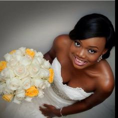 """Cute Nigerian bride in strapless white wedding dress for church wedding! Yellow and cream roses bouquet. """" Beautiful #nigerianbride. Picture: @tapstudios. Event planners: @oakenevent cc: @janeiyak"""