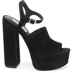 Steve Madden Studio Sandals (360 BRL) ❤ liked on Polyvore featuring shoes, sandals, black suede, peep toe block heel sandals, block heel platform sandals, high heel platform sandals, black high heel sandals and black suede shoes
