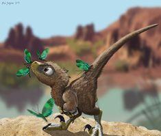 Velociraptor Baby Mobbed by Pretty Butterflies by Psithyrus.deviantart.com on @deviantART