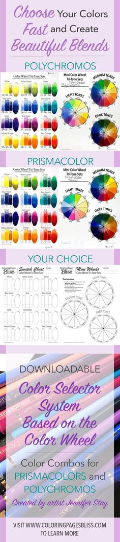 Choose colors fast with beautiful blends. This color wheel system will help you pick colors for your next coloring page. I have also included lots of great tips to help you learn more about color theory. Also get beautifully balanced color trios for Prismacolor Premier and Faber-Castell Polychromos. So much value here to bring your coloring to the next level. Gel Pens, Colored Pencils, Markers, Worksheets, Coloring, Palette, Dibujo, Palette Table, Sharpies