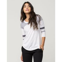 Socialite Pieced Womens Football Tee ($20) ❤ liked on Polyvore featuring tops, t-shirts, crew neck t shirt, burnout t shirt, 3/4 sleeve t shirts, stripe tee and color block t shirt