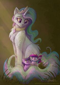 Princess Celestia, Princess Twilight Sparkle, and Princess Cadance as cats.