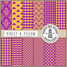 BUY5FOR8 Violet And Yellow Digital Paper Yellow by NorthSeaStudio