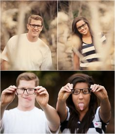 Engagement Shoot Ideas: fun shots with hipster glasses!