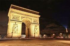Toile Imprimée - Tableau Paris - Arc de Triomphe de l'Étoile de Nuit