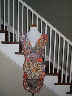 Printed Two- Tone Dress