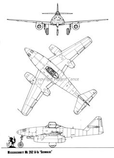 Me 262, Plan Drawing, Technical Drawing, Cutaway, Military Aircraft, Airplanes, 3d, How To Plan, Drawings
