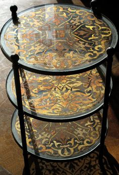 Transform an inexpensive catalog side table or coffee table with pattern and stenciling