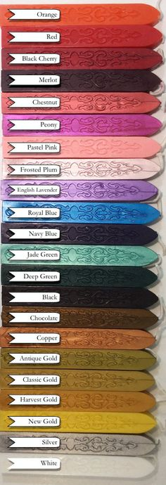 We are so thrilled with our newest sealing wax! Created in the traditional format, with a modern twist - each color is vibrant, mailable, strong and flexible. Made with a beeswax base, and strengthene Wax Seal Stamp, Wax Letter Seal, Jewel Tones, Color Inspiration, Envelopes, Just In Case, Color Schemes, Stationery, Letters