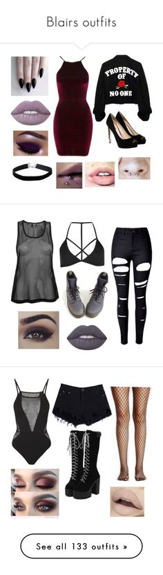 """""""Blairs outfits"""" by jack-barakat-trash ❤ liked on Polyvore featuring GET LOST, Lime Crime, Miss Selfridge, Oh My Love, GUESS, USA Pro, Boohoo, WithChic, Dr. Martens and Benefit"""
