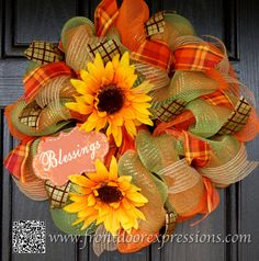 Festive Harvest / Thanksgiving Wreath by FrontDoorExpressions