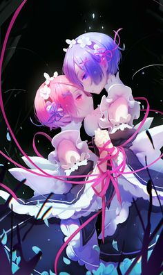 Illustration wallpaper art of Rem & Ram with pink ribbon of fates. Anime Title: Re:Zero kara Hajimeru Isekai Seikatsu Anime Chibi, Manga Anime, Art Anime Fille, Anime Art Girl, Anime Sexy, Re Zero Wallpaper, Wallpaper Art, Rem Re Zero, Ram And Rem