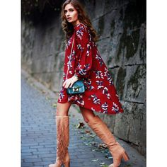 SheIn(sheinside) Wine Red Oxblood Baggy Long Sleeve Floral Flowery... ($22) ❤ liked on Polyvore featuring dresses, burgundy, vintage dresses, red vintage dress, red shift dress, shift dresses and wine red dress