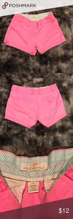 "Womens J.Crew hot pink chino shorts size 4 Women's size 4 chino shorts by J.Crew. They are hot pink, perfect for summer! In excellent condition! Inseam-3"" rise-8.5"" waist(flat across)-15"" J. Crew Shorts"