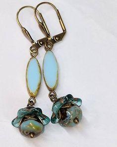 Long Blue Boho Earrings, Dangle Drop Earrings, Spindle Earrings, Czech Glass Bead Earrings, Unique Earring Jewelry Gift For Her