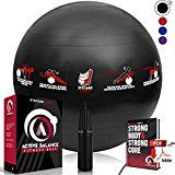 Active Balance Swiss Ball - Fitness Ball With Imprinted Exercises & Training eBook - Best Exercise Ball For Yoga, Stability Ball Workouts & Pilates - Black 65CM - https://www.trolleytrends.com/?p=649392