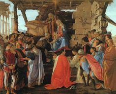 산드로 보티첼리 [경배] 이 작품은 동방박사가 예수의 탄생에 경배를 표하는 성경의 모습을 표현한 작품으로, 산타 마리아 노벨라 성당의 제단을 위해 제작했다고 한다. 그런데 보티첼리는 당대 최대 권력 가문인 메디치가의 환심을 사려는 귀아스파레 델 라마의 주문으로 동방박사의 얼굴에 코시모 메디치의 얼굴이, 코시모의 큰 아들인 피에로와 둘째아들 조반니, 조반니의 큰아들까지 얼굴이 차용되어 작품에 삽입되었다. 또한 보티첼리 역시 오른쪽 맨 끝에 노란 옷을 입은 금발의 청년으로, 작품에 출현하였다. 이 작품은 종교화가 세속 권력가들의 권력 과시의 수단이 되는 동시에, 화가 역시 이에 편입될 수밖에 없는 당시 시대상을 생각하게 한다.