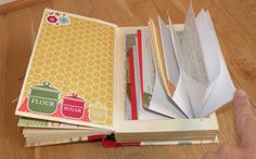 An altered cook book with a junk journal in the front and an expanding recipe file in the back! SaCrafters Family Recipe chipboard piece: http://www.sacrafte...