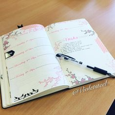 "violetsteel: ""Cherry blossom bullet journal weekly spread. #bulletjournal #weeklyspread #planner """