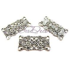 CO233 - Conector multisir 2 bucle argintiu 31x16mm Magazine, Bracelets, Silver, Jewelry, Fashion, Moda, Jewlery, Jewerly, Fashion Styles