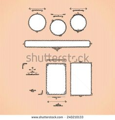 Original hand drawn frames and calligraphic design elements. Vertical, horizontal banners, round or rectangle. Vector template for your greeting design.  - stock vector