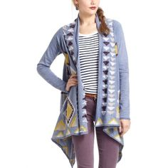 Anthropologie Southwest Blanket Sweater Fiets Voor 2 for Anthropologie!  Gorgeous blue, gold, brown, beige, and white diamond patterned wrap sweater.  It is very unique and I have received tons of compliments!  I personally like to wear it over a white dress and a skinny belt on top to accentuate the waist. Anthropologie Sweaters Cardigans