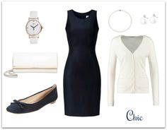 Coctail Outfit with navy dress. Sukienka Monika Kamińska, kardigan Repeat, baleriny Unisa, kopertówka Michael Kors, zegarek Timex, biżuteria Apart