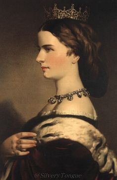 This is a formal profile portrait of Empress Elisabeth from 1861.
