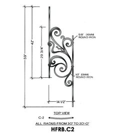 Rebecca Panel Piece C2 Curved Panel, Fits 40-52° Angled 14-1/2″ wide 59″ tall 5/8″ round bar stock This is the Rebecca C2 wrought iron panel made by Regency Railings. It is a curved panel that fits 40-52° angles.