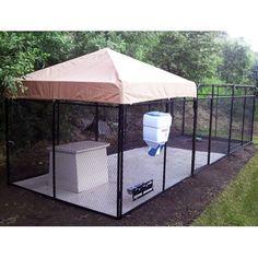 Outdoor Dog Area, Backyard Dog Area, Outdoor Dog Runs, Dog Cage Outdoor, Backyard Ideas, Chickens Backyard, Dog Kennel And Run, Dog Kennels For Sale, Dog Kennel Designs